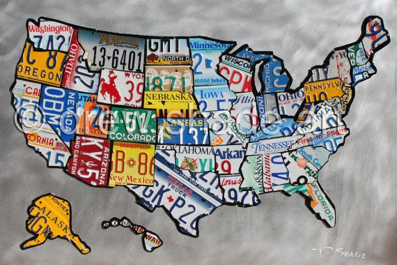 United States Map License Plate Sculpture 18x12 By Drewshadeart - Us-map-license-plates