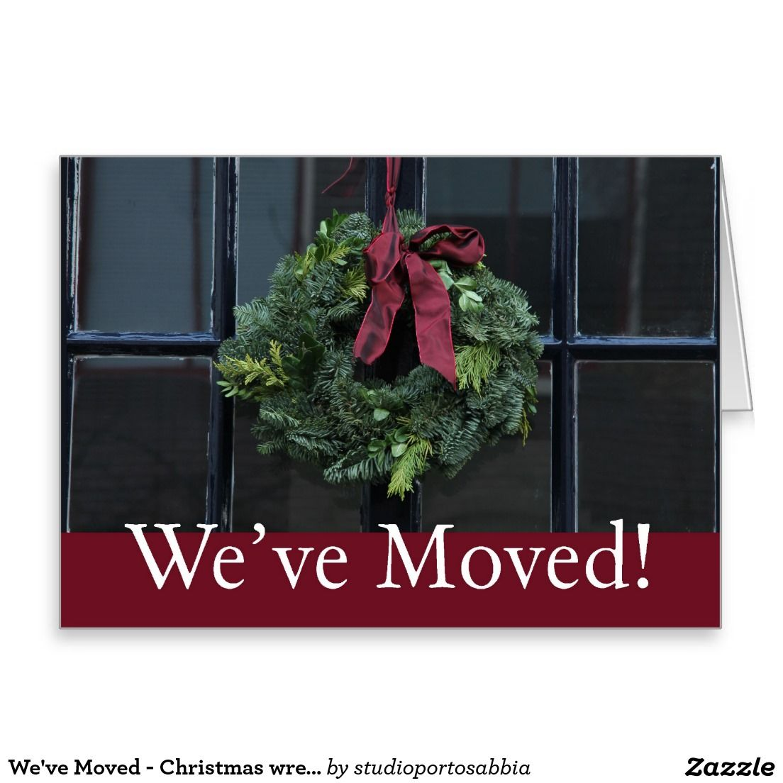 We\'ve Moved - Christmas wreath new address Card