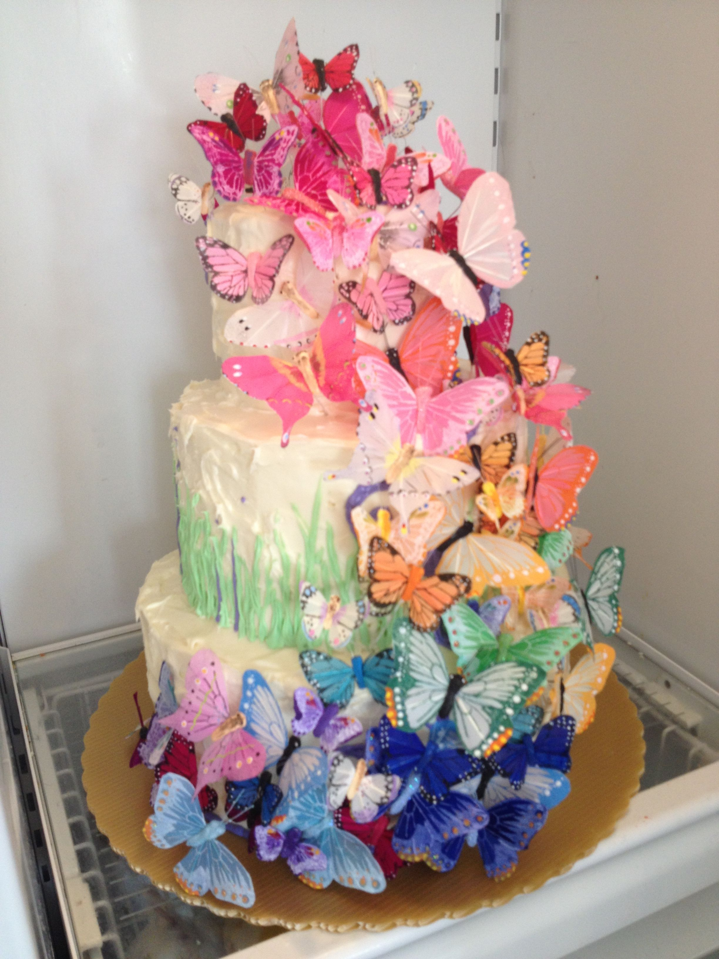 Butterfly cake for Oona's graduation party. | Flower ...