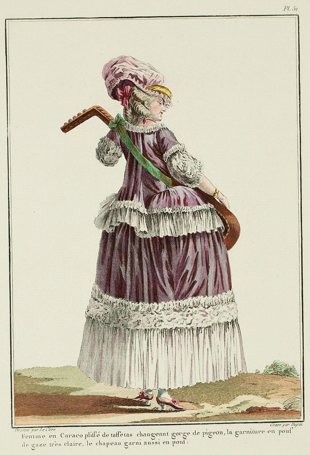 """""""Pleated caraco, or français caraco, seen from the back, trimmed with flounces; the volant is headed with a matching trim. The sabot cuffs flare in the middle and taper at the ends, and are trimmed with two poufed bands. Hat à l'Italienne, almost entirely concealing the top of her face; two oblique curls, braided chignon held up with a bow at the back of the head. Shoes match the color of the caraco, fastened with rosettes"""""""