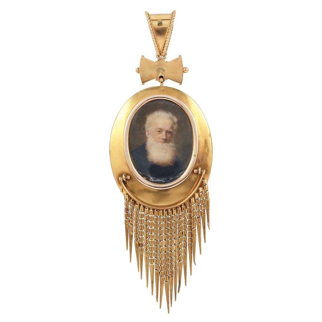 Archaeological Revival Gold, Split Pearl, Diamond and Blue Enamel Fringe Pendant   C. 1870, reverse with glazed compartment, one small split pearl missing, ap. 13.8 dwt.