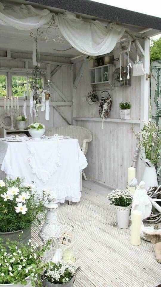 beautiful shabby chic outdoor cottage what a wonderful place to sit and get away from it all. Black Bedroom Furniture Sets. Home Design Ideas