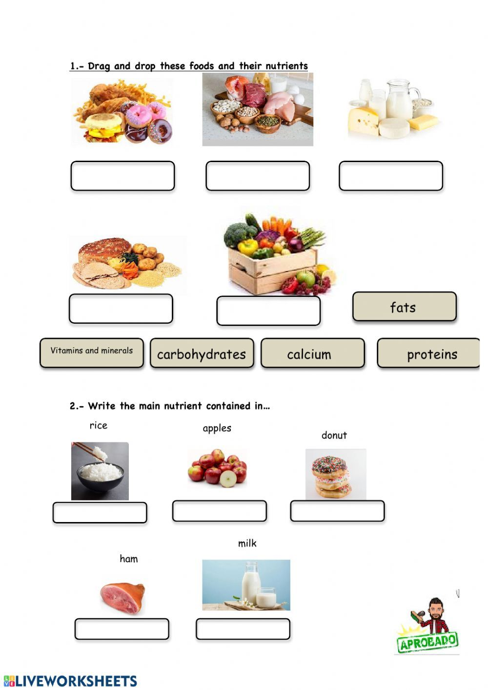 hight resolution of Food and nutrients - Interactive worksheet   Nutrient