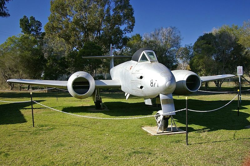 Gate Guardian Royal Australian Air Force Gloster Meteor at RAAF Wagga Heritage Centre.