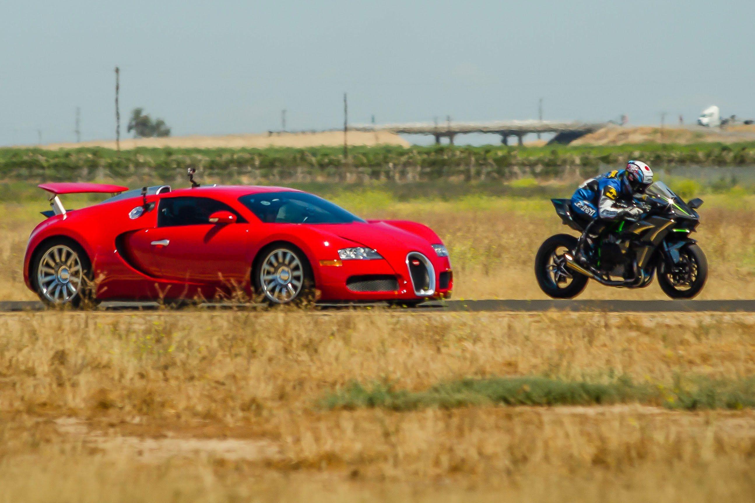 Kawasaki H2r Vs Bugatti Veyron Supercar 1 2 Mile Airstrip Race 2