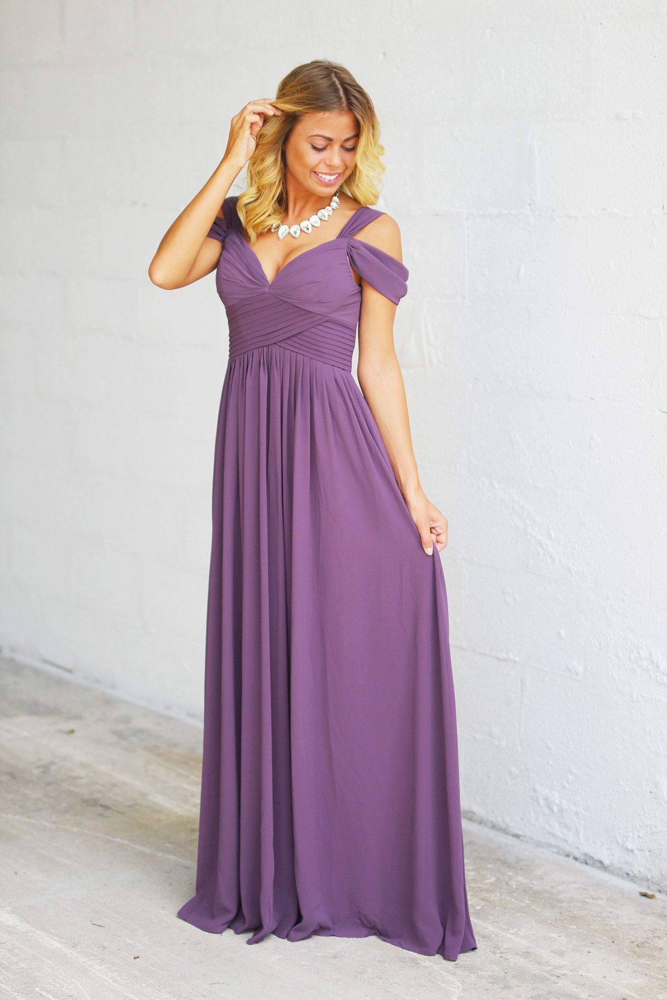 e706fb23c2 You will look incredibly stunning in this new Dusty Purple Off Shoulder Maxi  Dress. We love the elegant and regal off shoulder style!