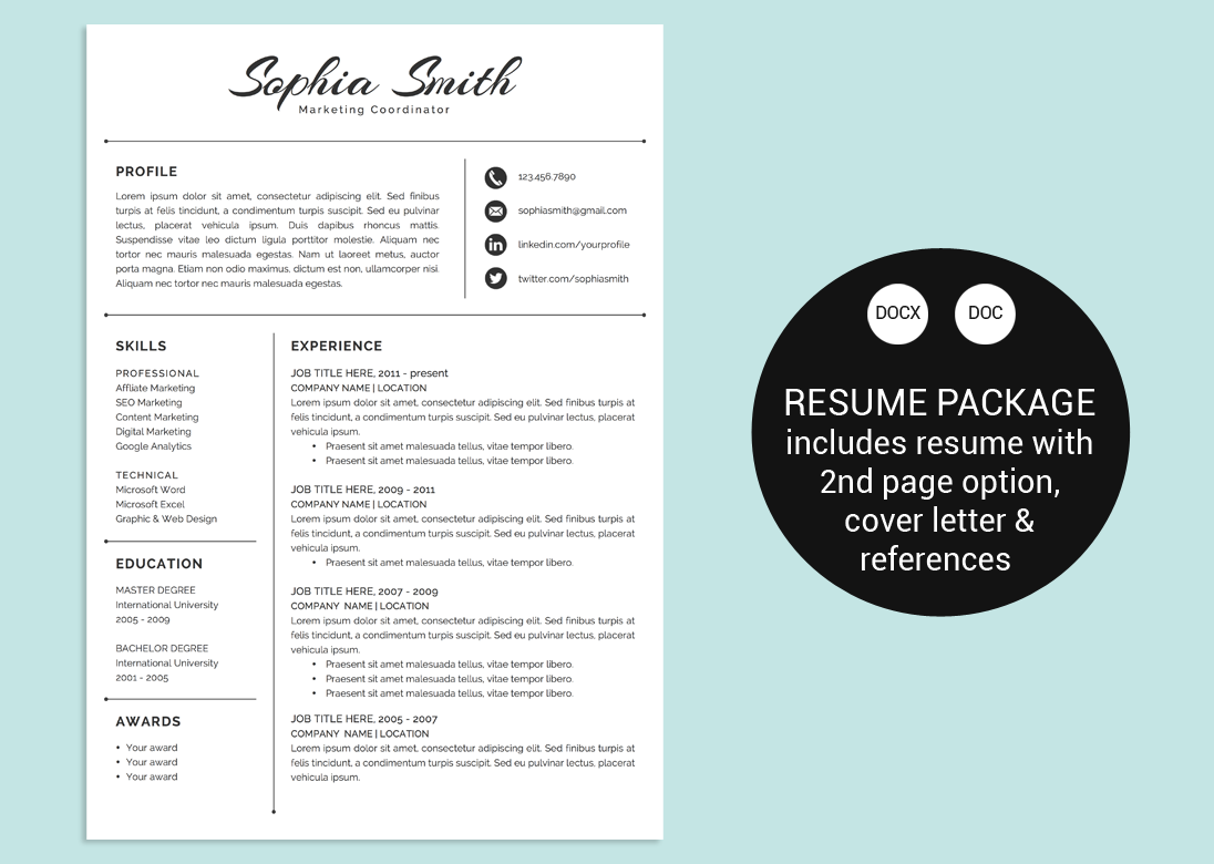 Classic Script Word Resume Template By Vandelay On Creative Market