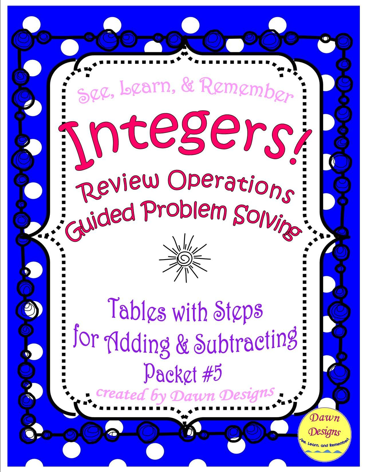 Integer Worksheet Tables With Steps