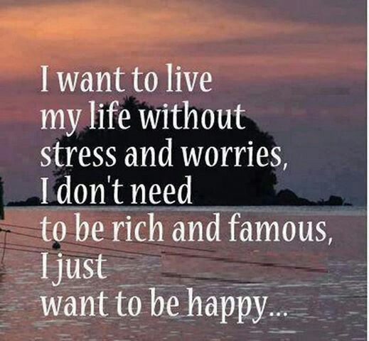 I Don T Want To Be Rich Famous I Just Want To Be Happy Work Stress Quotes Stress Quotes Quotes To Live By