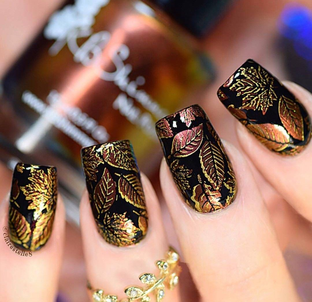 gold leaf nail design | Be A Wild One | Pinterest | Nail stamping ...