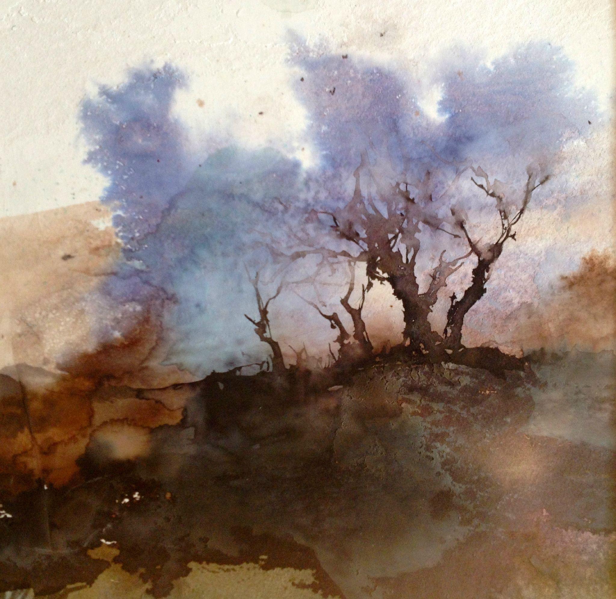 Blue Trees Peinture Abstraite De Paysage Paysage Aquarelle Et