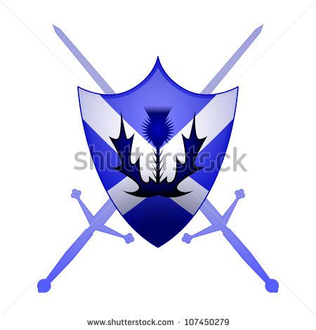 Thistle And Claymore Swords With A St Andrews Cross Sheild Scottish Symbols Scottish Tattoos St Andrews Cross