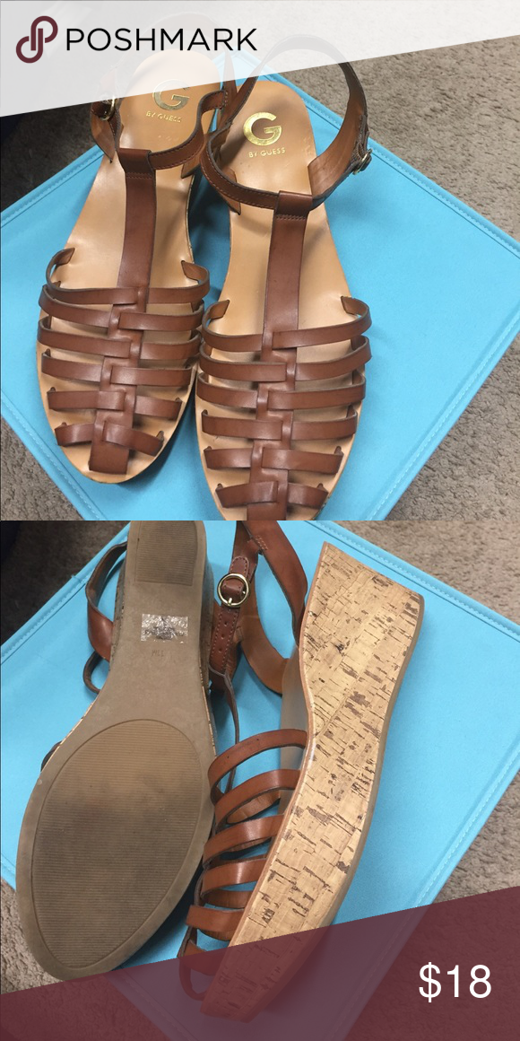 Guess huaraches  platform sandals Size 11 sandals in great condition. Comfortable and easy to walk in. British tan color, cork look platform. G by Guess Shoes Sandals
