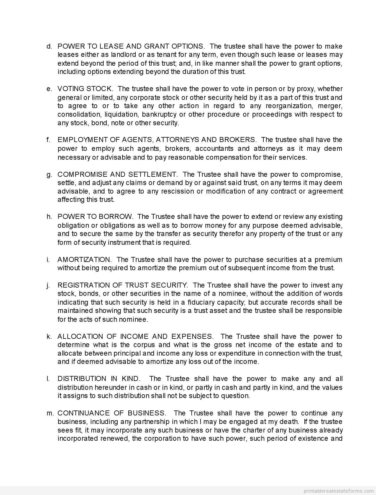 Sample Printable trust agreement Form | Sample Real Estate Forms ...