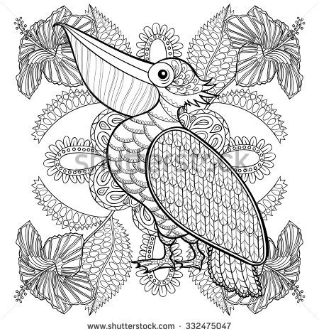 Superbe Coloring Page With Pelican In Hibiskus Flowers, Zentangle Illustartion For  Adult Coloring Books Or Tattoos