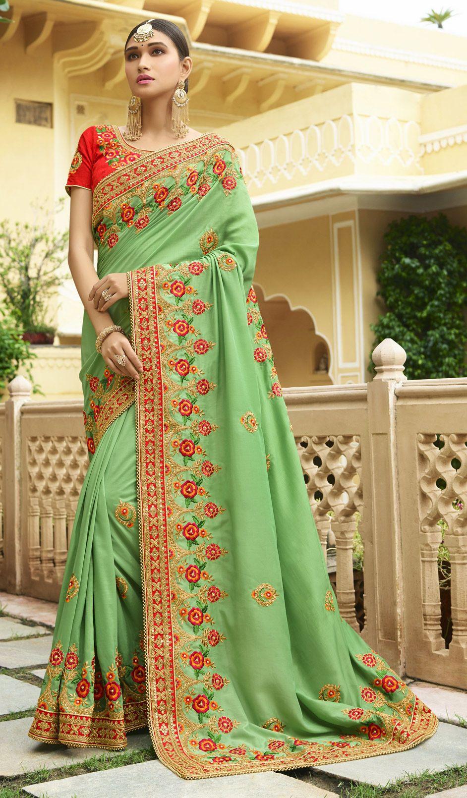 ecaefb5ac9 1521934: Traditional Green color Saree in Art Silk, Silk fabric with Border,  Bugle Beads, Embroidered, Resham, Thread, Zari work