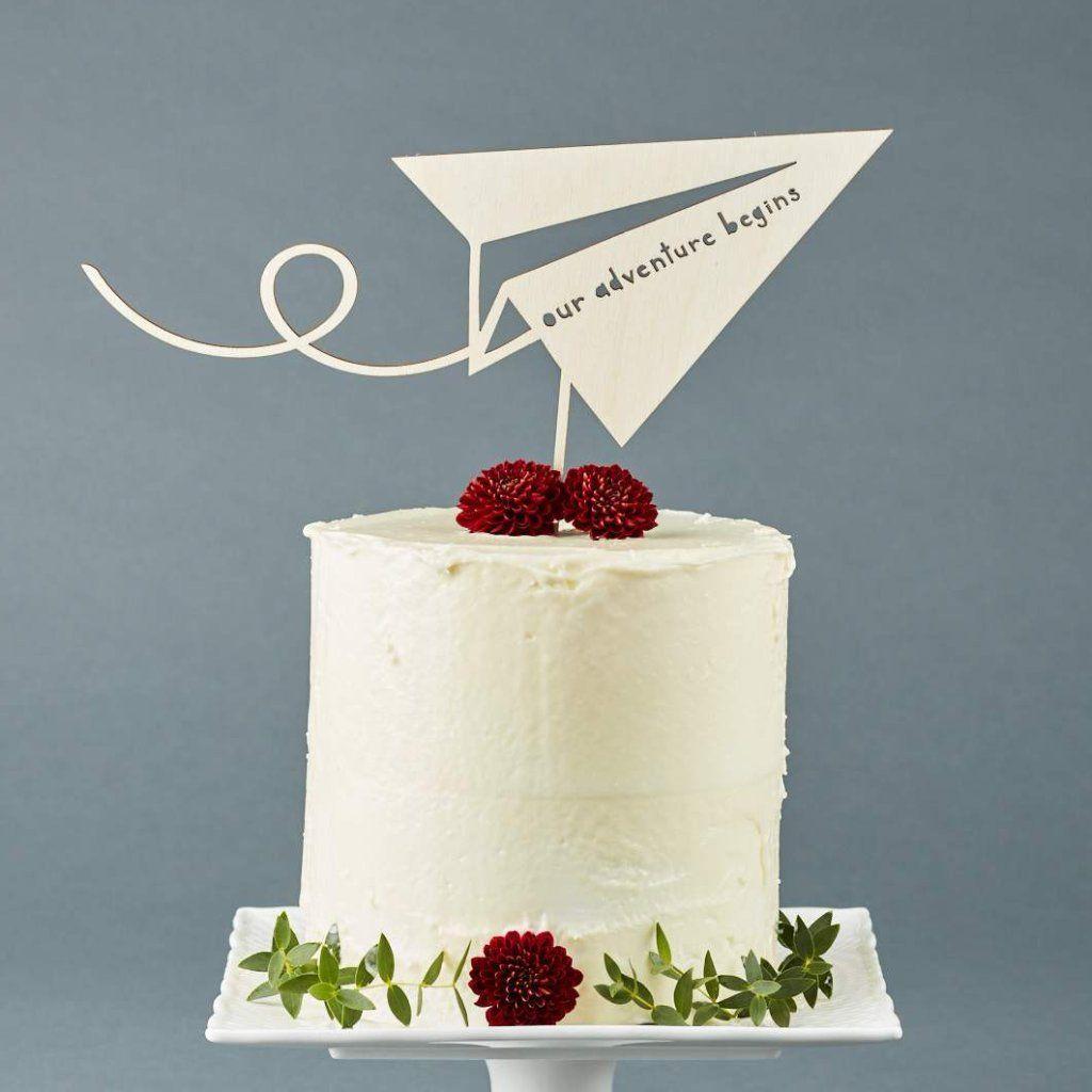 Paper Airplane Adventure Travel Wedding Cake Topper Wedding Cake