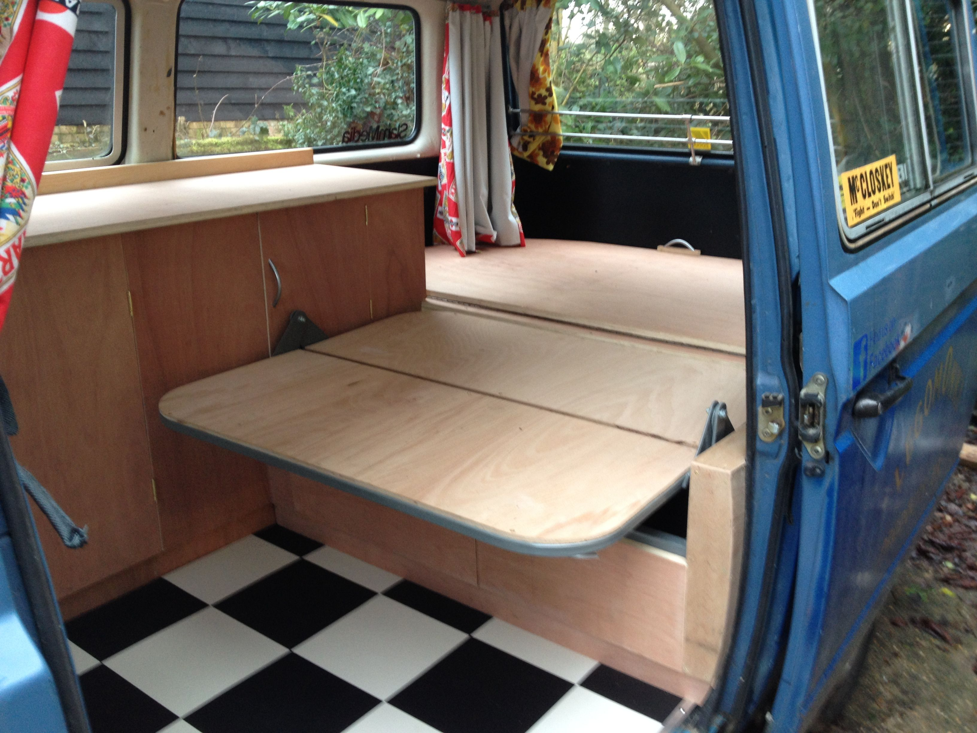Custom Built Interior We Did In This T25 Volkswagen All On A Very Tight Budget Rusty Lee R R Bed Plywood Cabinets Plywood Cabinets Vinyl Flooring Interior