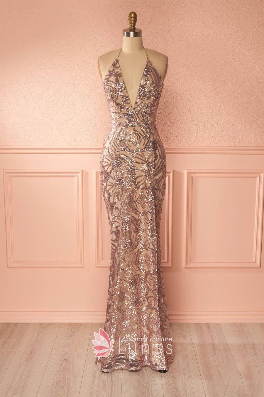 Dazzling gold sequin fitted mermaid long evening prom dress. Plunging V- neckline. Halter spaghetti straps. 36e83355e2c5