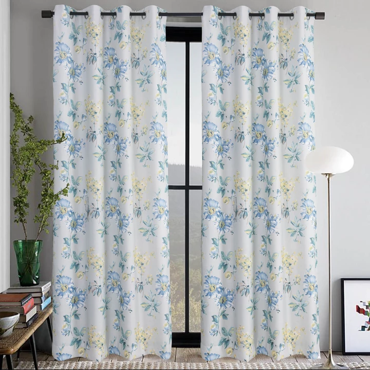 Blue Yellow Flower Curtains Country Light Gray Drapes 2 Panels