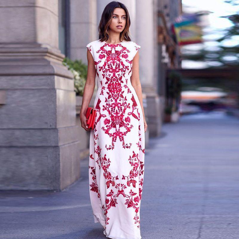 2015-nuevas-mujeres-del-verano-de-Boho-Floral-vestido-largo-señora ...