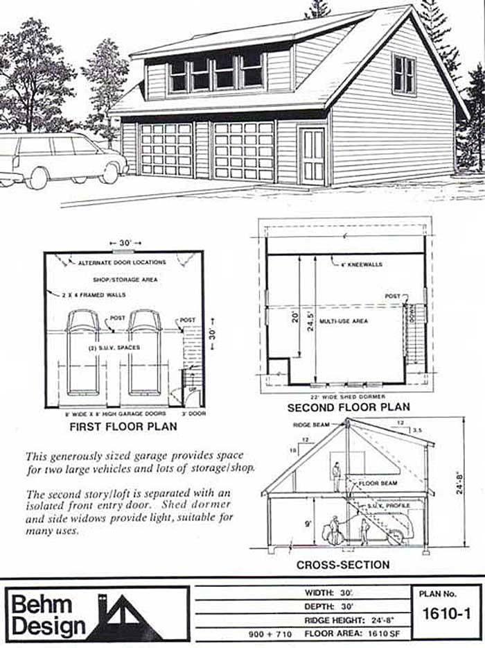 excellent 30x30 garage plans.  1610 1 30 x Garage plans Car garage and Lofts