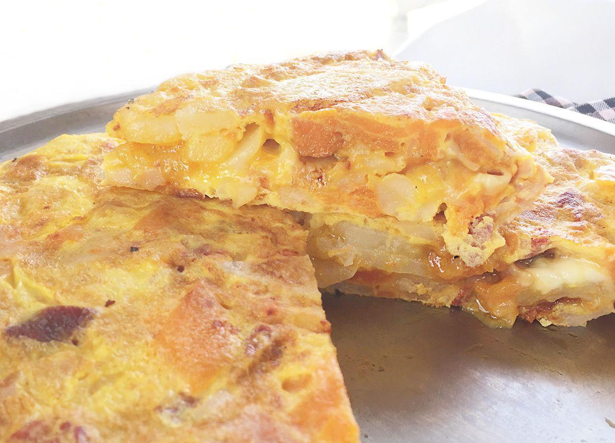 Tortilla De Patatas Boniato Chorizo Y Queso De Arz A Huevos  ~ Tortilla De Patatas Baja En Calorias