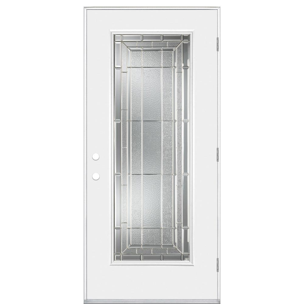 Masonite 36 In X 80 In Sequence Full Lite Right Hand Outswing Primed Impact Steel Prehung Front Exterior Door No Brickmold 74572 The Home Depot In 2020 Exterior Doors Exterior Front Doors Masonite