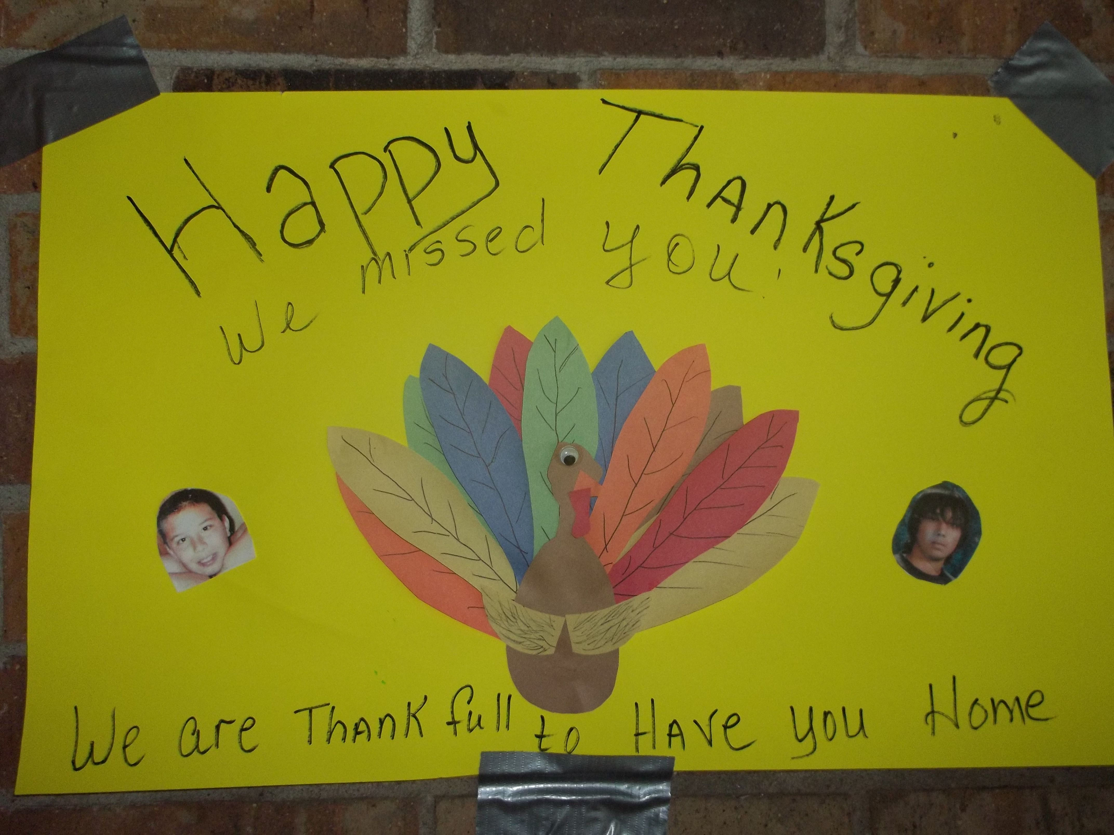 we also make posters for each holiday he missed....