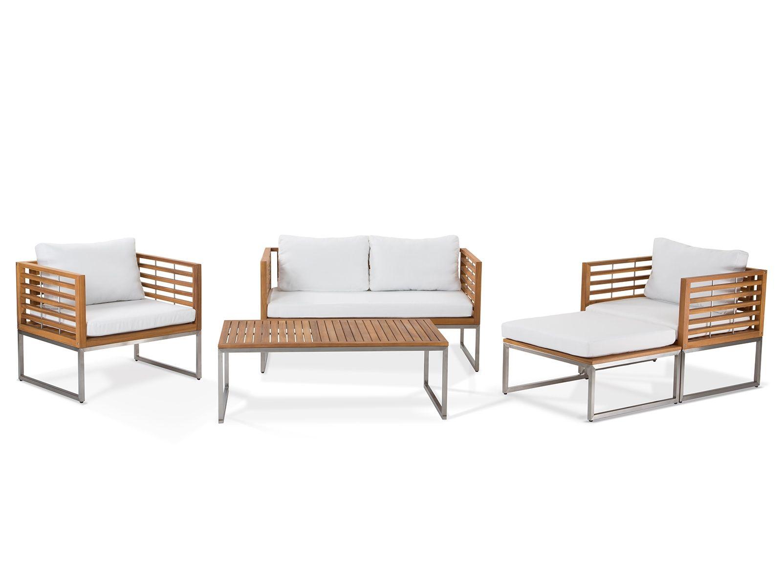 Gartenmöbel Set Holz 4-Sitzer Auflagen beige BERMUDA | Ottomans ...