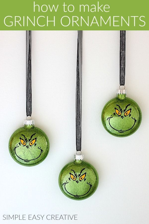 Grinch Ornaments :: Make your own Grinch Christmas Ornaments or give them as gifts! #simpleeasycreative #hoosierhomemade #grinchornaments #grinchchristmasornaments #grinchchristmasdecorations #christmasornaments