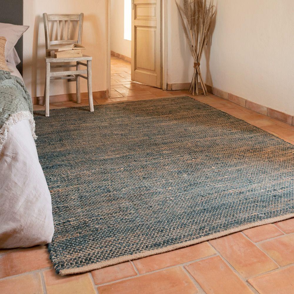 tapis tresse en jute naturel et vert