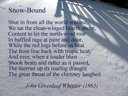 """Excerpt from """"Snow-Bound"""" (1865), by James Greenleaf Whittier ..."""