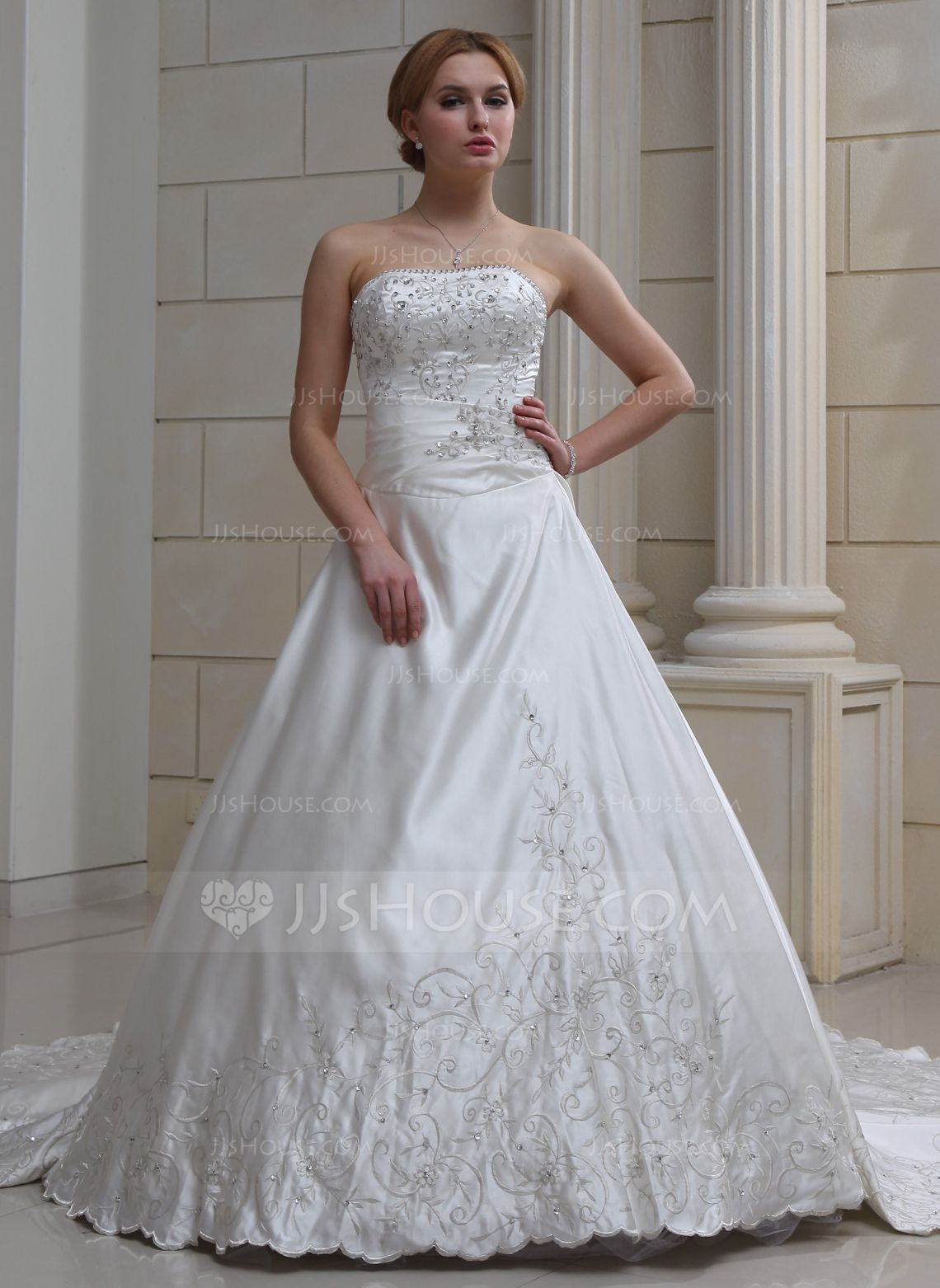 Ballgown sweetheart royal train satin wedding dress with