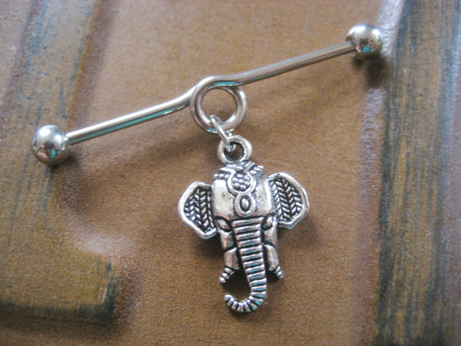 Industrial Barbell With Owl Dangle Charm
