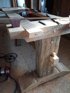 Barnwood table base mortise n tenon. No metal hardware. – Au…