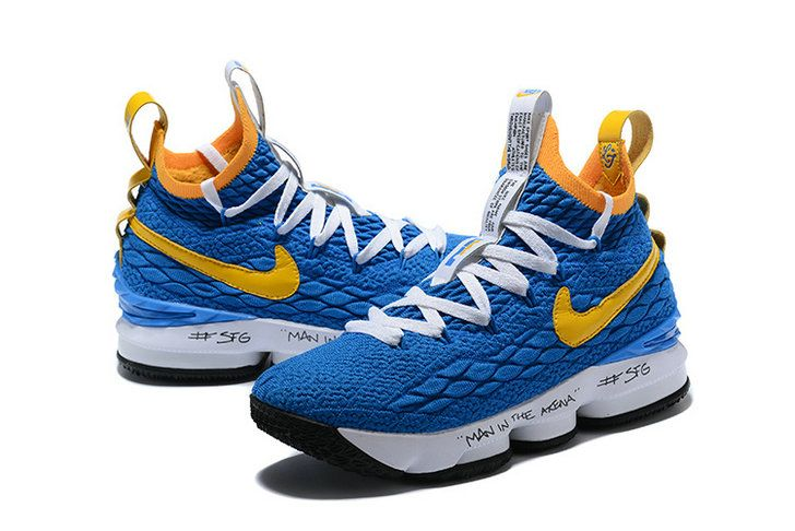 best sneakers 06091 c80db 2018 Legit Cheap Nike LeBron XV EP 15 Mens Basketball Shoes Graffiti Royal  Blue Yellow White
