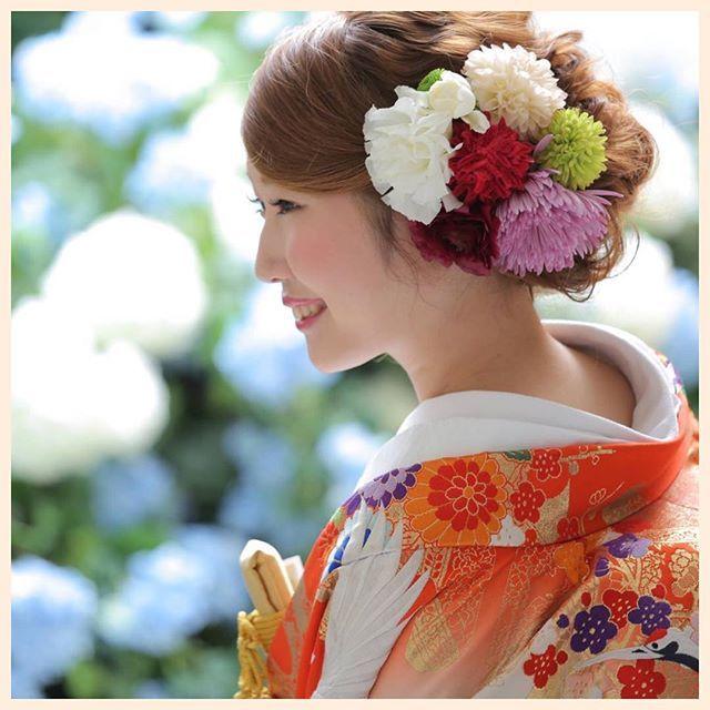 和装ウェディングに似合う髪型特集 ウェディング 色打掛 髪型 髪飾り