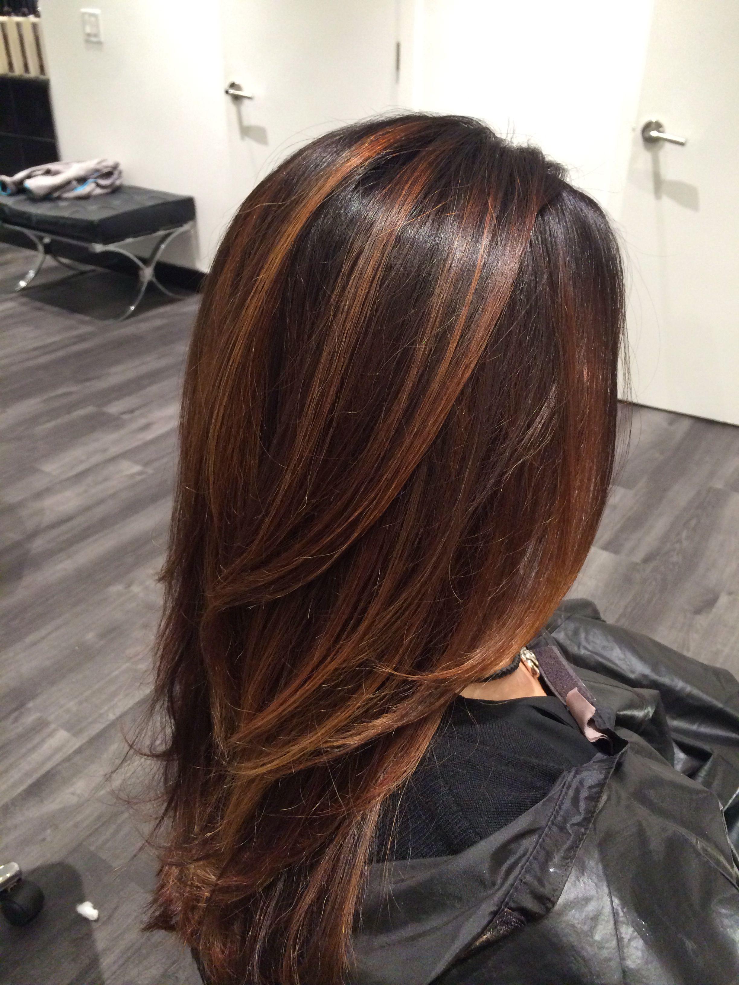 Hair Painting Beautiful Brunette Hair Color Flamboyage Brunette Hair Color Brown Blonde Hair
