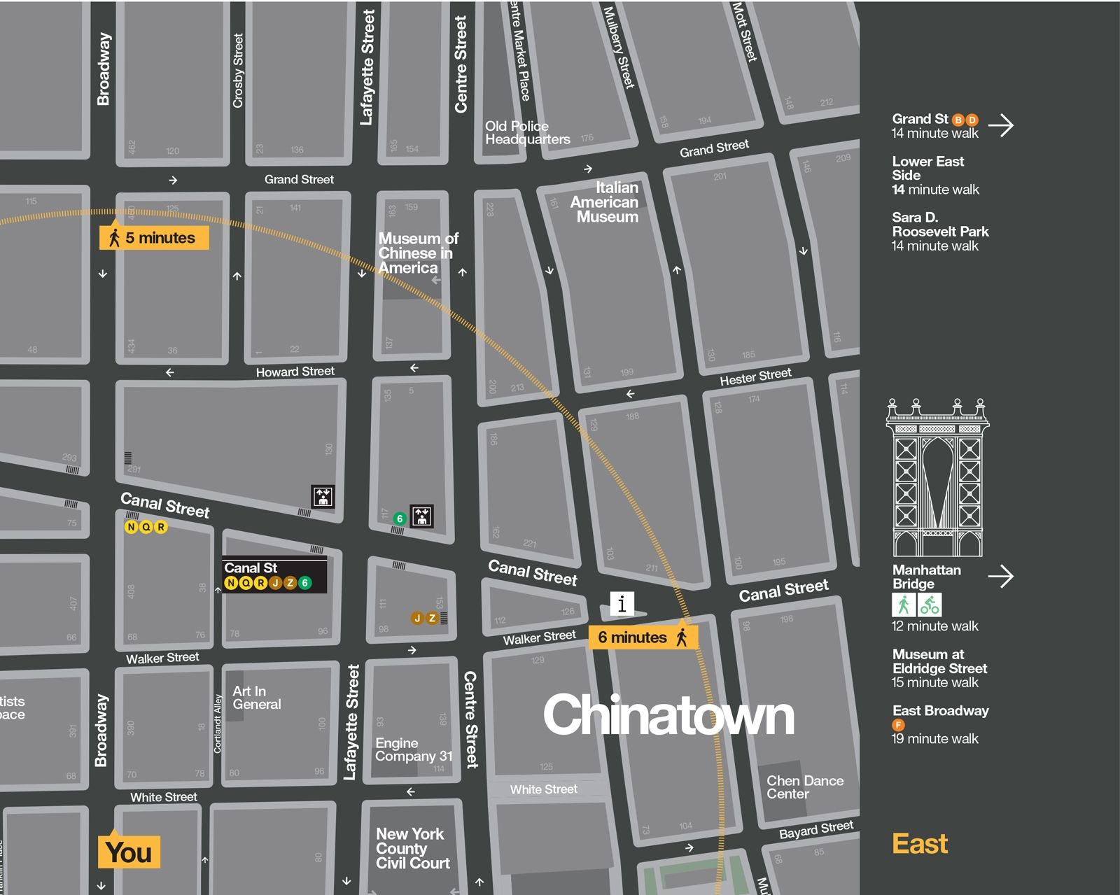 Signage For New York City WalkNYC Program By Pentagram Signage - Nyc map canal street