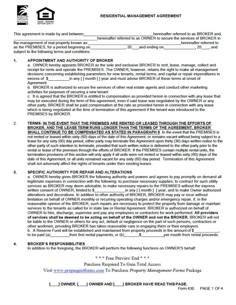 South carolina property management agreement property