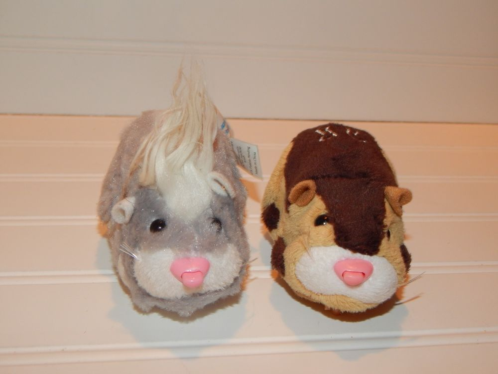 Zhu Zhu Pets Lot Of 2 Hamster Interactive Toys Brown Gray White Tested Works Cepia Brown And Grey Interactive Toys My Ebay