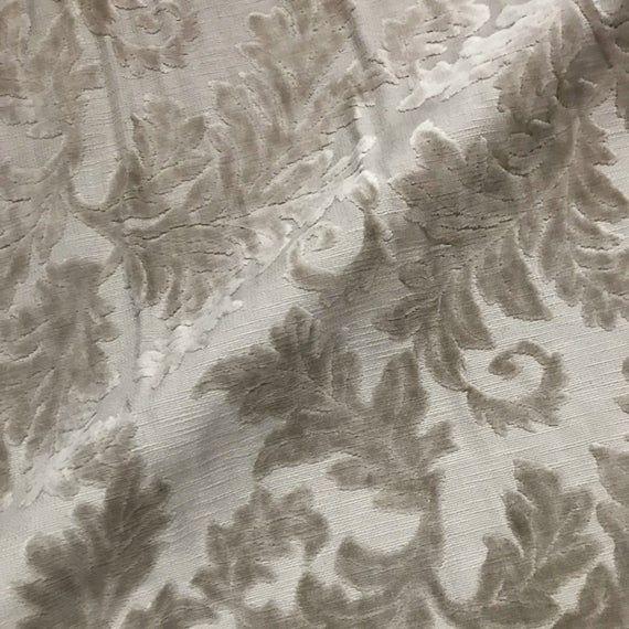 Luxury Taupe Velvet Textured Leaf Damask Woven Upholstery Fabric - 54 #velvetupholsteryfabric