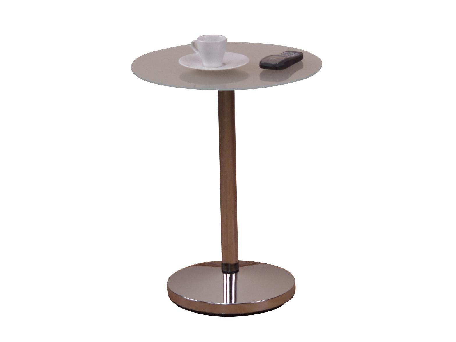 beistelltisch milchglas/ silber woody 193-00023 weiss metall, Wohnzimmer dekoo