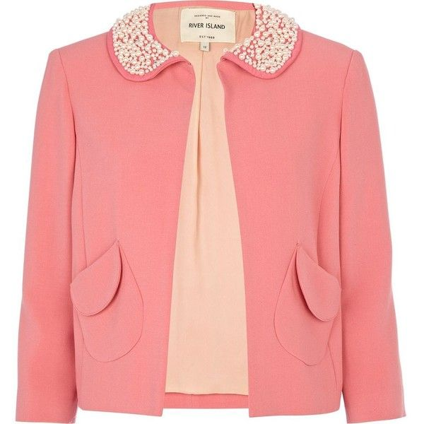 pink pearl collar jacket found on Polyvore