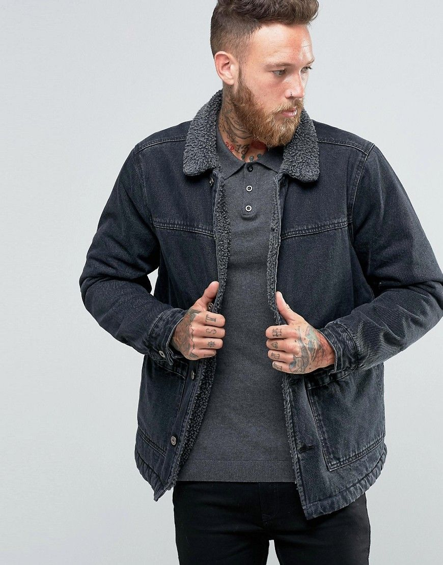 Asos Fleece Lined Denim Jacket In Black Wash Black Lined Denim Jacket Borg Lined Denim Jacket Mens Jackets