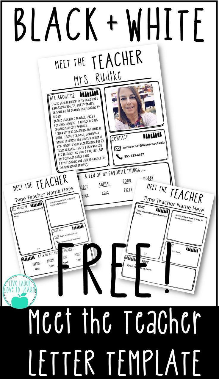 Black and White Editable Meet the Teacher Letter Template FREE