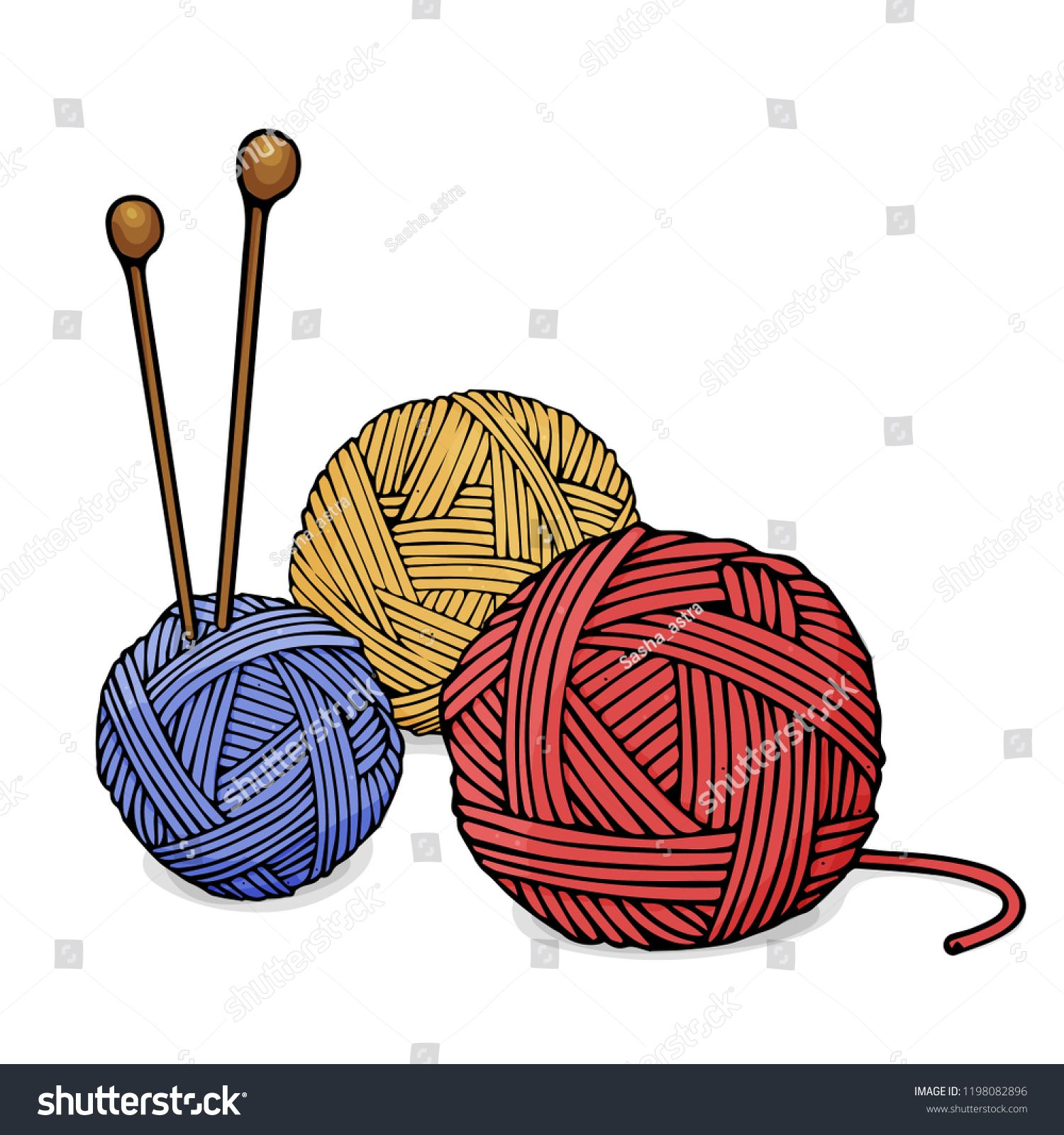 Balls Of Different Colors Of Wool For Knitting And Knitting Needles Colorful Vector Illustration In Sketch Style Knitting Needles Wo Wool Balls Knitting Color