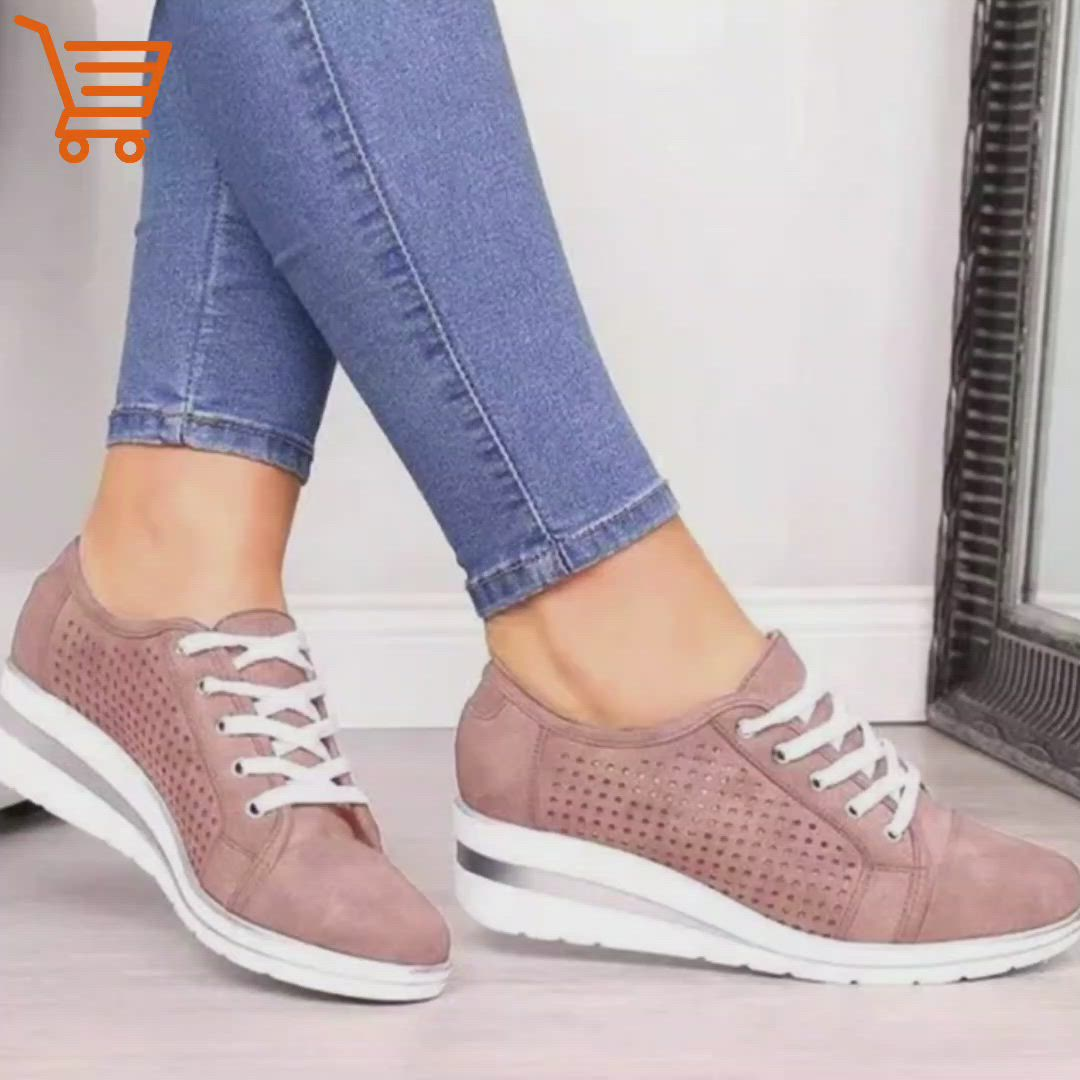 Details about  /Women/'s Platform Sneakers Canvas Lace Up High Wedge Fashion Comfort Shoes