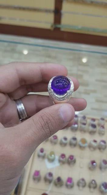 الفخامة بين يديك خاتم ملكي امتست او جمشت برمي عالي المستوى طبيعي100 Amethyst للعرض Video Sapphire Ring Rings Druzy Ring